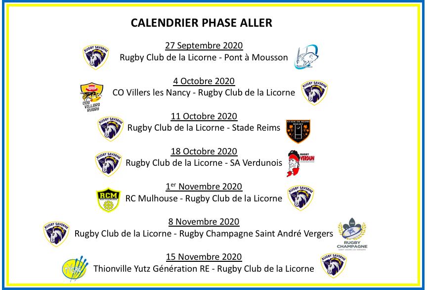 Calendrier Phase Aller   Championnat Honneur 2020/2021   Rugby